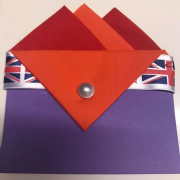 Red & Orange Pocket Hankie with Orange Flap & Pin